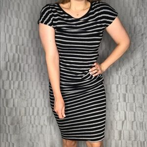Anthropologie Sundry Striped Ruched T Shirt Dress